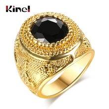 Dubai Color oro anillos para hombre joyería Vintage negro rojo palabra antigua grabado resina Tíbet Aleación de anillos de boda para hombres
