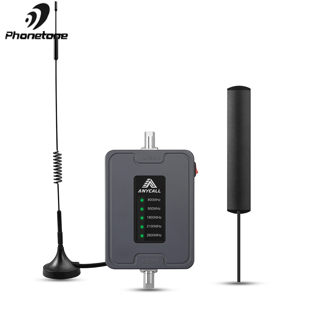 Mobile Cell Phone Signal Booster 800/900/1800/2100/2600MHz 2G 3G 4G LTE 5 Band 45dB Gain Cellular Repeater Amplifier For Car Use