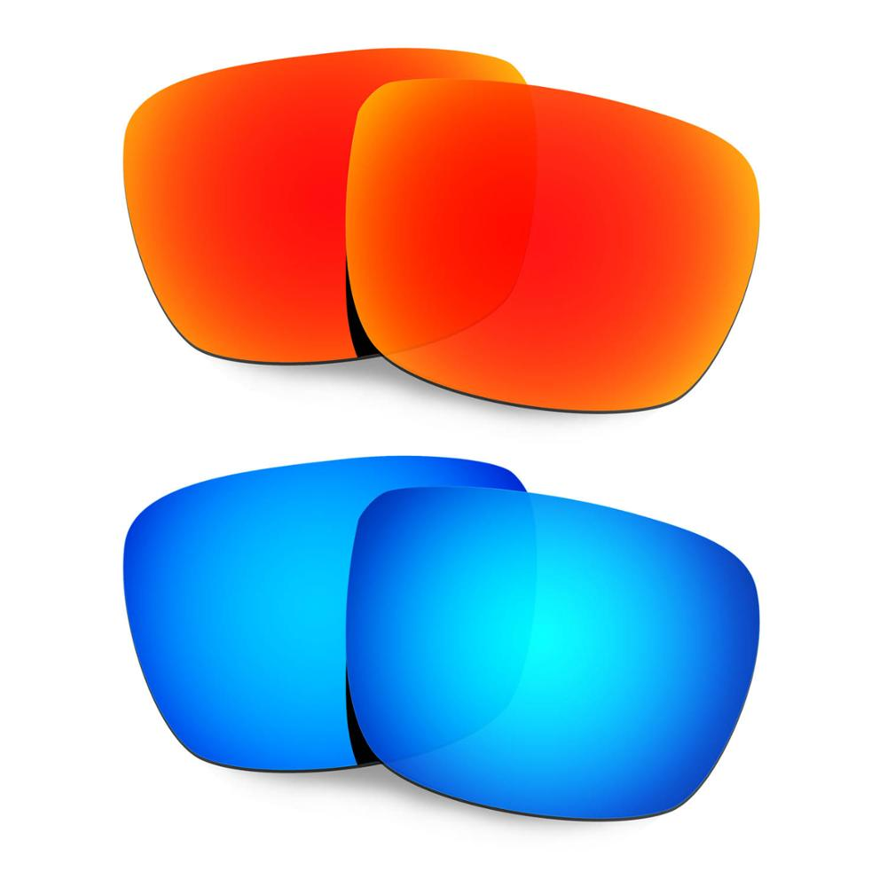 HKUCO For Spy Optic Helm Sunglasses Polarized Replacement Lenses 2 Pairs Red & Blue