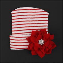 Noworodek niemowlę dziewczyna wygodne duże kwiatowe Bowknot czepek medyczny urocze czapki zimowe cekiny nowe dziecko jesień zima ciepła czapka z dzianiny czapki tanie tanio Thefound Dzieci Poliester Unisex W paski Skullies Beanies Na co dzień