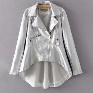 Image 3 - CHICEVER, chaqueta de piel sintética para mujer, cuello de solapa, manga larga, abrigo informal asimétrico de talla grande, abrigo informal para mujer, moda 2020, nueva ropa