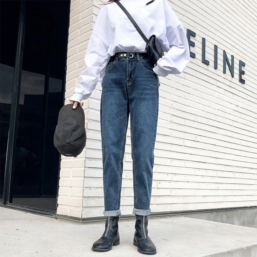 Spring New Vintage High Waist Boyfriends Slouchy Mom Jeans Denim White Harem Pants For Women Autumn Casual Long Trousers B01645F