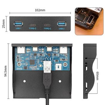 Chenyang USB 3.1 Front Panel Header to USB-C & USB 3.0 HUB 4 Ports Front Panel Motherboard Cable for 3.5 Floppy Bay high quality pc motherboard 4 ports usb2 0 hub with 9 pin header rear panel expansion bracket host adapter cable usb hub