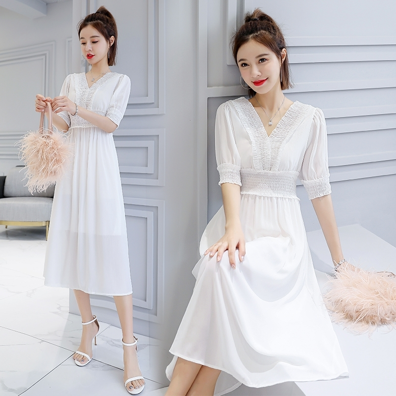 Mr nut 2019 new middle and long section Korean version of the summer chiffon v neck dress children high end temperament clothes in Dresses from Women 39 s Clothing