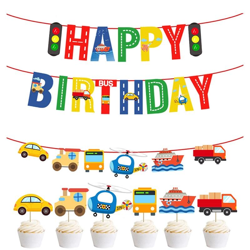 Happy birthday Banner Airplane Car Traffic Light Banner Happy Birthday Decoration 1st Birthday Supplies
