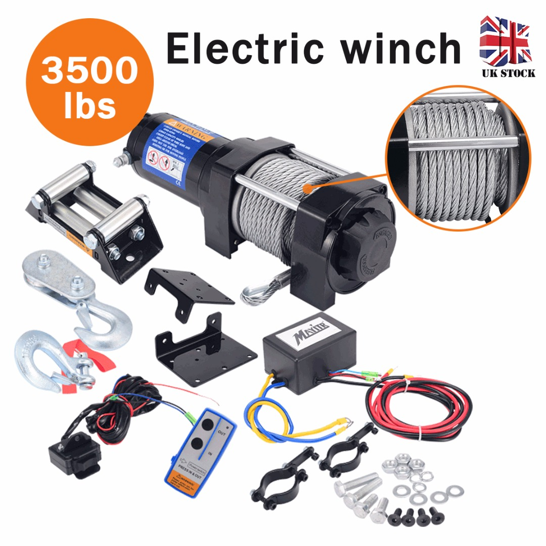 3500LBS 1588KG Electric Recovery Winch Kit 12V DC Boat ATV 4x4 Trailer Steel Cable Powerful Winch Car Trailer Truck