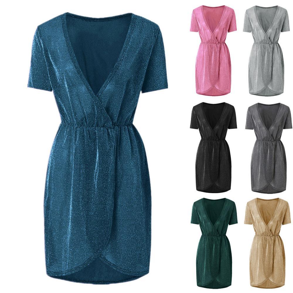 V-neck sequined evening dress short sleeve evening gown robe de soiree dress women elegant WED90593