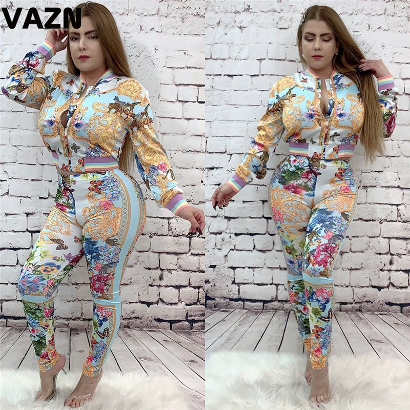 VAZN Print Zipper Spring 2020 New Tide Sport V-neck 2 Pieces Casual Women Set Full Sleeve Full Length Bodycon Women Set