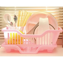 Environmental Plastic Kitchen Sink Dish Drainer Set Rack Washing Holder Basket Organizer Tray, Approx 17.5 x 9.5 x 7INCH (Pink)(China)