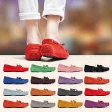 2020 신발 여성 100% 정품 가죽 여성 플랫 신발 캐주얼로 퍼 슬립 여성 플랫 신발 Moccasins 레이디 나비 매듭