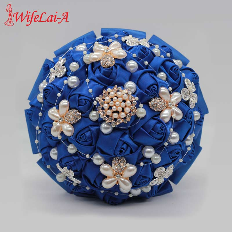 8 Styles 15cm Jewelry Beaded Wedding Flower Bridal Bridesmaid Bouquets Royal Blue Ribbon Wedding Bouquets Diamond Brooch Bouquet