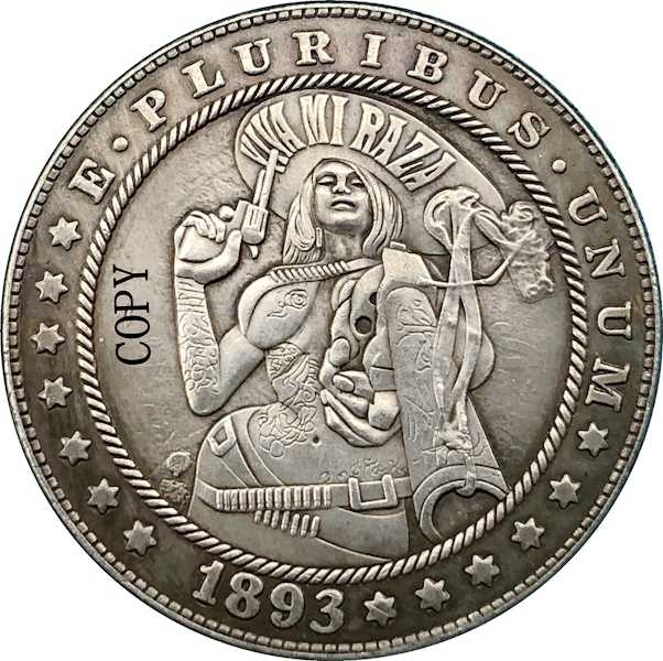 Hobo Nikkel 1893-S Vs Morgan Dollar Munt Copy Type 178