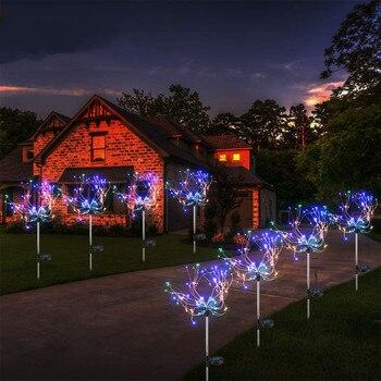 LED Solar Firework Lights Outdoor Waterproof Fairy Garland 90/150 LEDs Light String Garden Lawn Street Christmas Decoration
