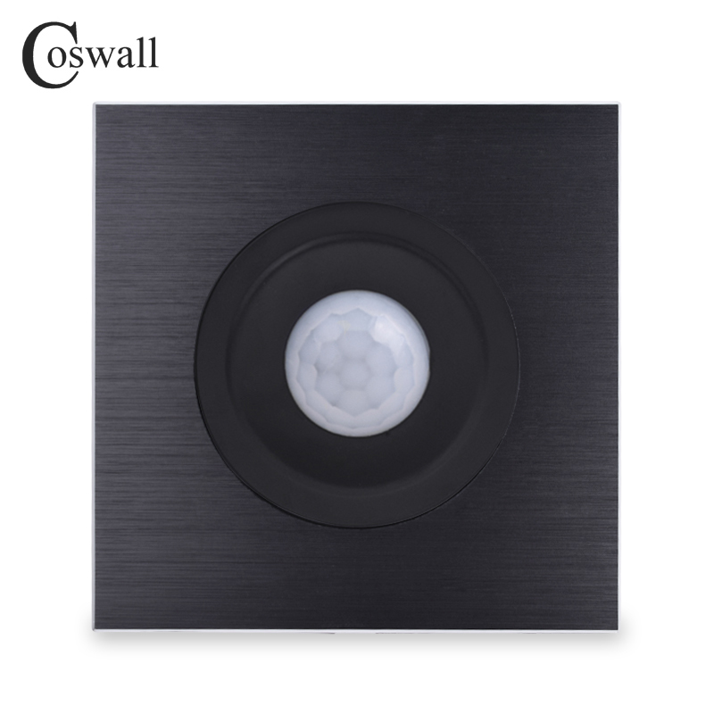 Coswall Full Aluminum Metal Frame Human Body Motion Sensor Wall Light Switch Adjustable Time Delay And Induction Distance
