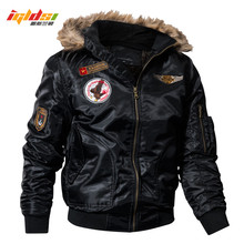 IGLDSI Mens Bomber Pilot Jacket Winter Parkas Army Military Motorcycle Jacket Cargo Outerwear Air Force Army Tactical coats 4XL