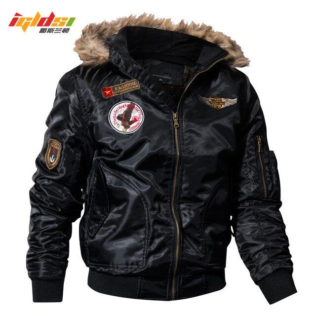 IGLDSI erkek bombacı Pilot ceket kış Parkas ordu askeri motosiklet ceket kargo giyim hava kuvvetleri ordu taktik mont 4XL