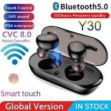 Y30 tws esporte sem fio bluetooth fone de ouvido sem fio portátil bluetooth 5.0 toque fones 3d estéreo som com microfone