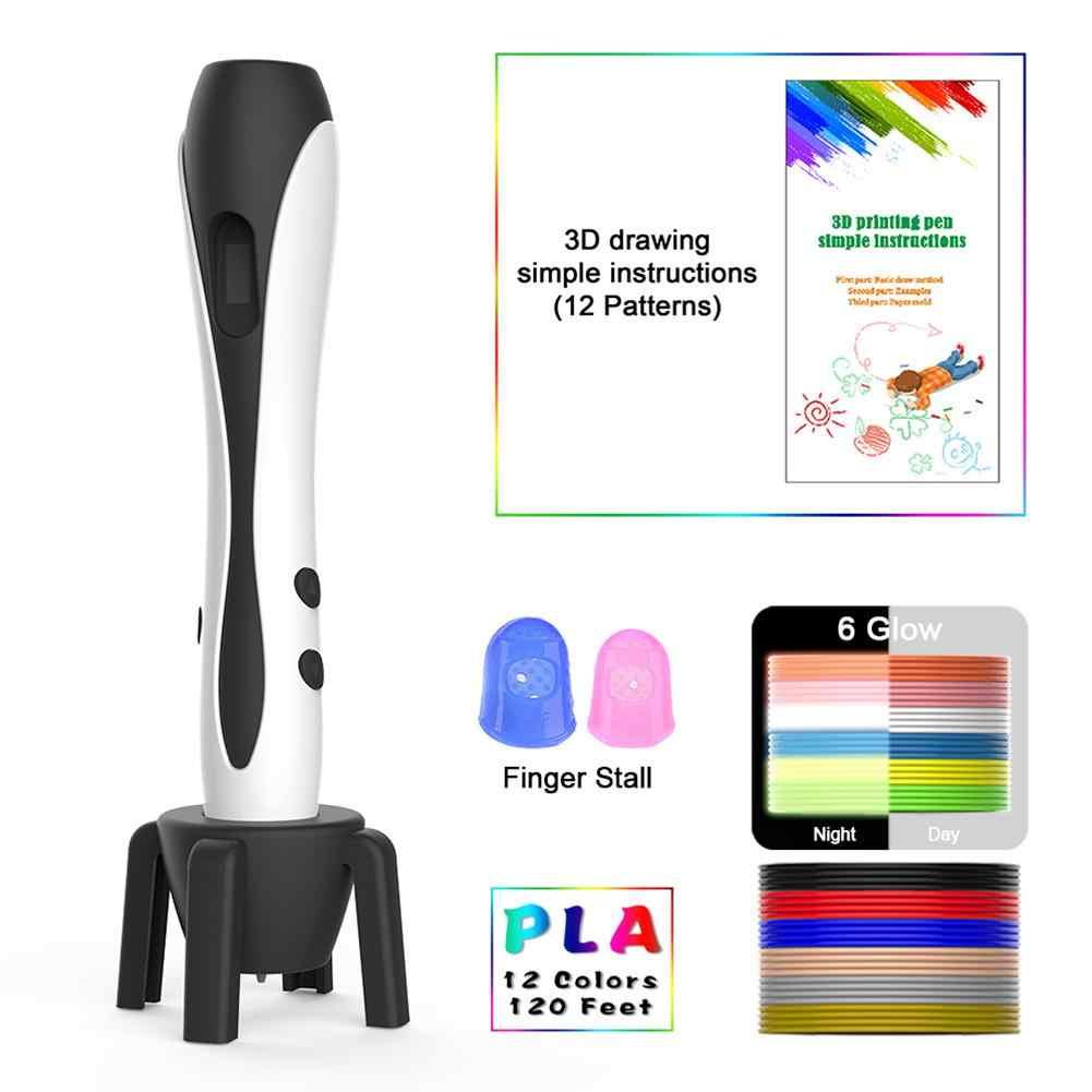 3D Pen 3D Afdrukken Tekening Pen Met 12 Kleuren Pla Filament Doodler Pen Voor Kids Volwassenen Lcd Display Voor Kids ontwerp Tekening # N