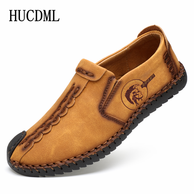 Leather Casual Shoes Slip-On Men Loafers Black Khaki Yellow Soft Bottom Men Driving Shoes Big Size 38-47 Support Dropshipping
