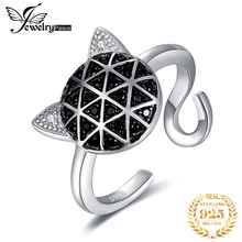 JewelryPalace Genuine Black Spinel Cubic Zirconia Cat Face Adjustable Open Ring 925 Sterling Silver thailand imports men s black zircon 925 sterling silver ring side face