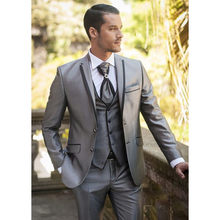 Custom Made Sliver Groom Groomsmen Mens Suits Tuxedos For Prom Wedding (Jacket+Pants+Vest) Men Suit Set Slim Costume Homme(China)