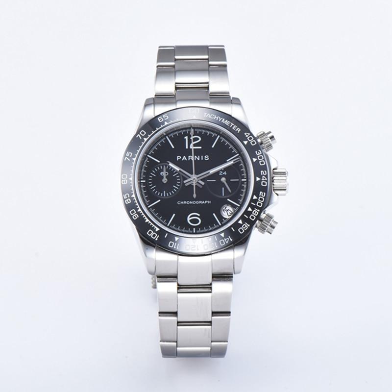 Parnis 39mm Watch Men VK Quartz Chronograph Brand Luxury Pilot Business Waterproof Sapphire Crystal WristWatch Relogio Masculino