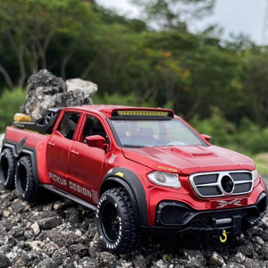 Simulation Alloy Car Modle BENZXCLASS EXY 6X6 Pickup 1/28 Metal Toy Car Sound Light Pull Back Model Toys For Boys Light Toys