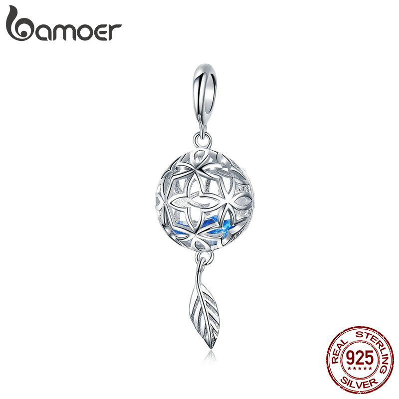 BAMOER Genuine 925 Sterling Silver Preserved Flower Geometric Charms Pendant Fit Original Bracelets Bangles DIY Jewelry SCC1123