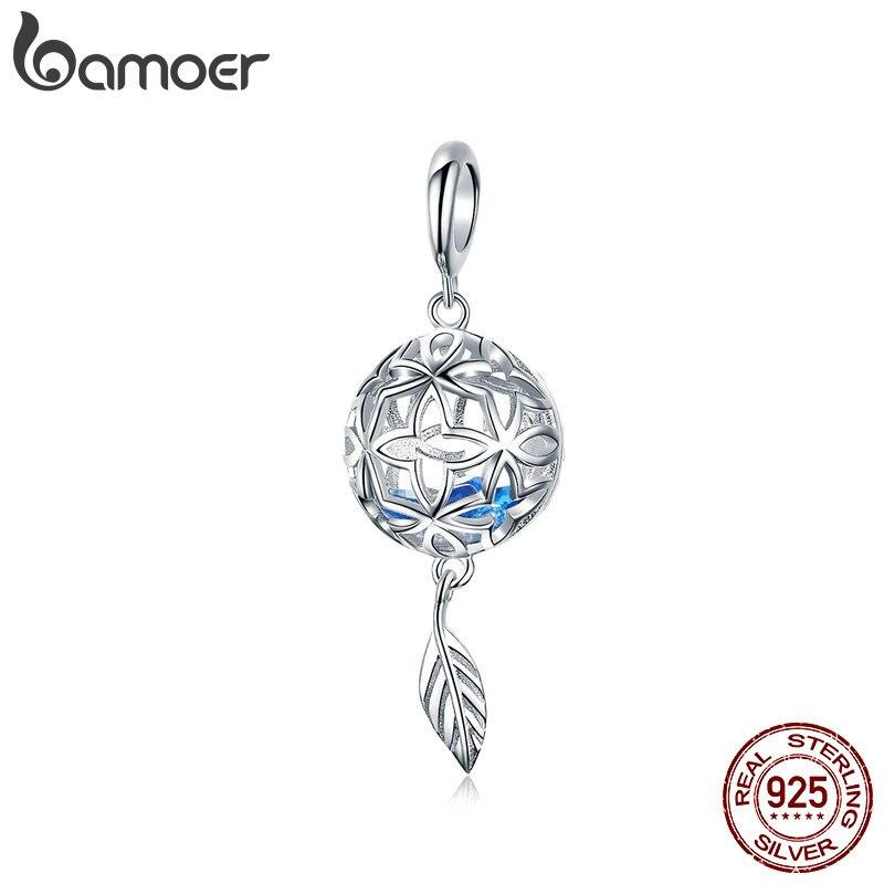 BAMOER Genuine 925 Sterling Silver Preserved Flower Geometric Charms Pendant Fit Original Bracelets Bangles DIY Jewelry SCC1123