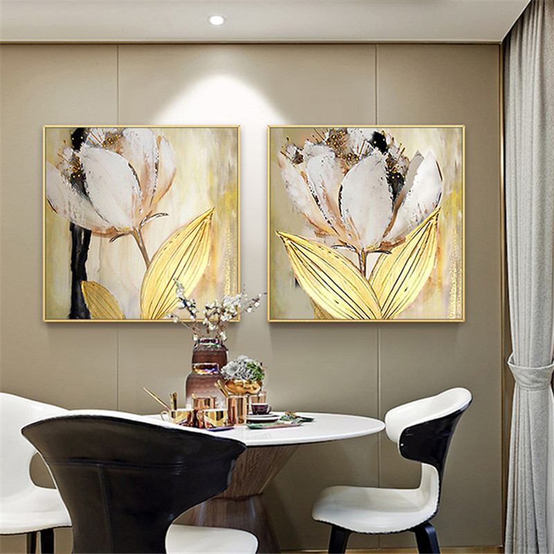Canvas Painting Wall Art Golden Tulip Flower Oil Painting Family Living Room Home Decoration Restaurant Modern Painting