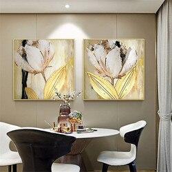 Golden tulip pintura a óleo da flor pintura da lona arte da parede sala de estar da família de decoração para casa restaurante pintura moderna