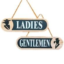 Casillero de baño para hombres y mujeres, placa de matrícula, decoración creativa para el hogar, letrero de madera