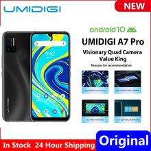 Na stanie UMIDIGI A7 Pro Quad Camera android 10 OS 6 3 #8222 FHD + pełny ekran 64GB 128GB ROM LPDDR4X Octa Core wersja globalna telefon tanie tanio Nie odpinany Nowy Rozpoznawania linii papilarnych Rozpoznawania twarzy Inne 16MP 4150 Nonsupport Smartfony Pojemnościowy ekran