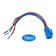 10Pcs Push Button Switch Socket Flame-Retardant Plastic Shell Wire Connector 5-Pin 16mm Button Switch Wire Connector fit for new style toyota push switch 20 32 mm blue led 5 pin power lights push switch with connector wire