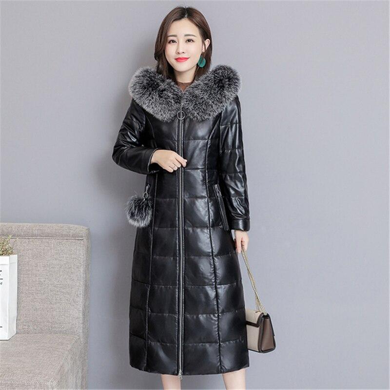 Winter Genuine Leather Coat Women 2019 Casual Warm Fox Fur Hoodie Long Genuine Leather Jacket Winter Coat Women Casaco Feminino