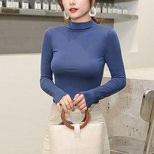 Women Modal T Shirt High Elastic Seamless tshirt Turtleneck long sleev