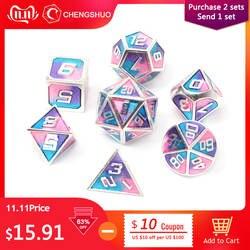 Chengshuo игральные кости DND металла rpg набор многогранных Подземелья и Драконы d20 10 8 12 настольная игра цинковый сплав серебристый игральные
