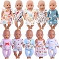 Детская кукла ручной работы в пижаме, одежда для 18-дюймовой куклы, 43 см куклы для новорожденных и нашего поколения, игрушки для девочек