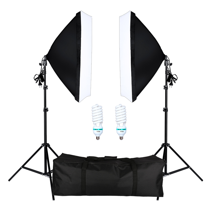 Photography Softbox Lightbox Kit 2 PCS E27 LED Photo Studio Camera Lighting Equipment 2 Softbox & Light Stand With Carry Bag