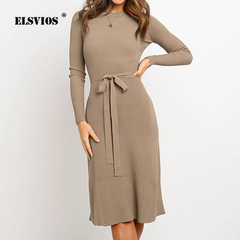 ELSVIOS 2019 Autumn <font><b>Winter</b></font> Knitted Sweater <font><b>Dress</b></font> Women <font><b>Sexy</b></font> O Neck Long <font><b>Sleeve</b></font> A-Line <font><b>Dress</b></font> Ladies Knee Party <font><b>Dress</b></font> Belt Vestido image