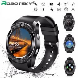 V8 bluetooth タッチスクリーン手首時計の android スマートウォッチカメラ/sim カードスロット防水 passmeter スマート腕時計