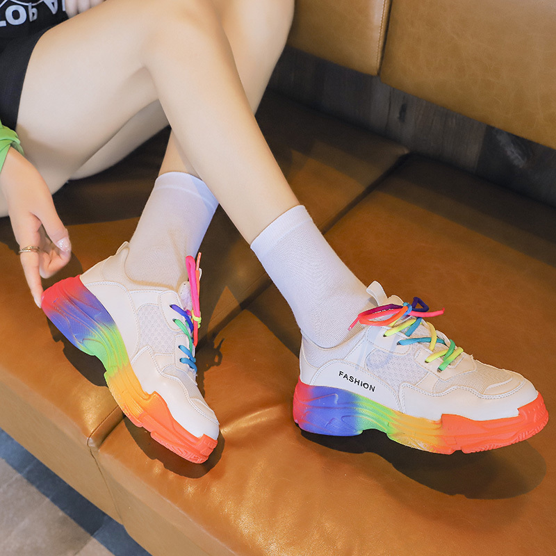 Platform Loafers Casual Shoes Colorful Chunky Sneakers Women Shoes Woman Lace Up Vulcanized Shoes Female Air Mesh Ladies Flats