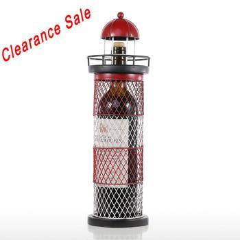Tooarts Wine Holder Lighthouse Wine Rack Wine Holder Wine Bottle Shelf Metal Sculpture Practical Craft For Home Decoration