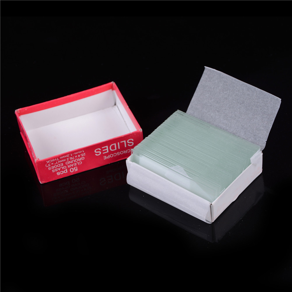 50pcs/lot Prepared Glass Microscope Slides Educational Specimen with Chinese English Label for School and Lab Biological