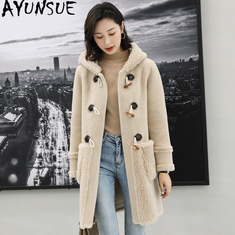 AYUNSUE 100% Wool Fur Coat Female Sheep Shearling Fur Jackets 2020 Winter Jacket Women Hooded Long Coats Korean Outwear MY3698