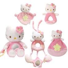 1 stücke Neue Baby spielzeug! Kinder hand Schütteln Glocke spielzeug cartoon tier katze plüsch spielzeug Rosa Kitty Baby Beruhigende spielzeug hohe qualität