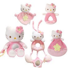 1pcs New Baby toys! Kids hand Shaking Bell toys cartoon animal cat plush toys Pink Kitty Baby Soothing toy high quality