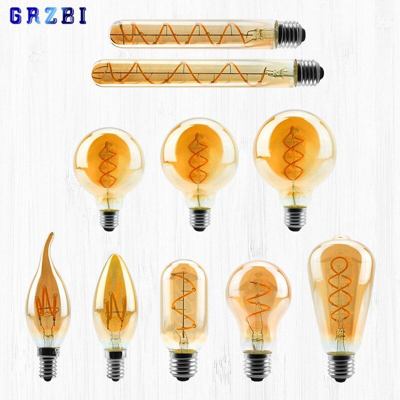 Светодиодная спиральная лампа накаливания в стиле ретро, A60, C35, ST64, T45, G80, G95, G125, T1225, 4 Вт, E27, 220 В, диммируемая лампа Эдисона, 2200K, светодиодсвети...