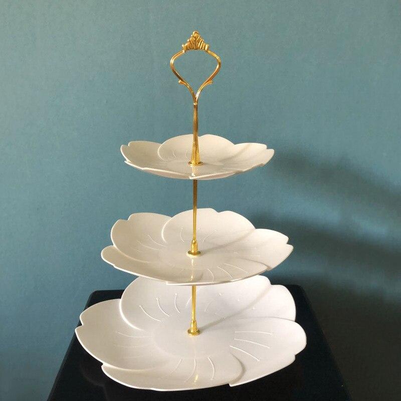 Поднос 3 яруса кружевных Пластик подставка для свадебного торта днем Чай Свадебные тарелки вечерние посуда для выпечки торта магазин три Сл...