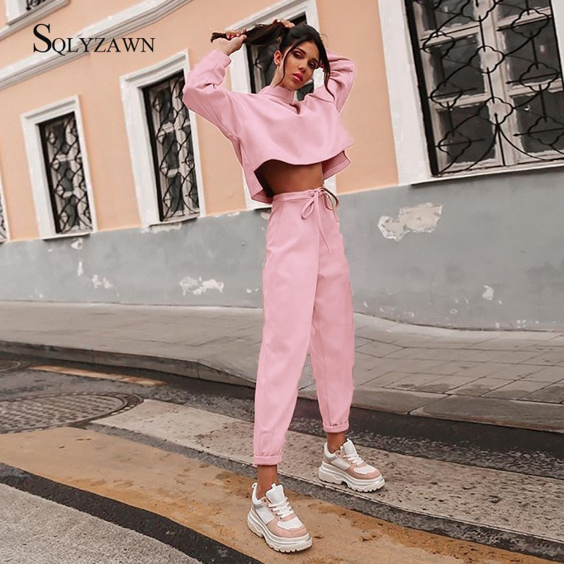 Women Fall Winter Oversized Tracksuit Two Piece Set Turtleneck Loose Top And Jogger Pants Matching Sprot Sweat Pink Black Suits